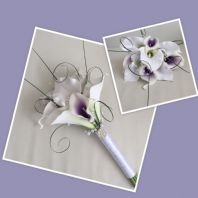 ARTIFICIAL WHITE PURPLE FOAM CALLA LILY WEDDING FLOWER BRIDESMAID BOUQUET BROOCH